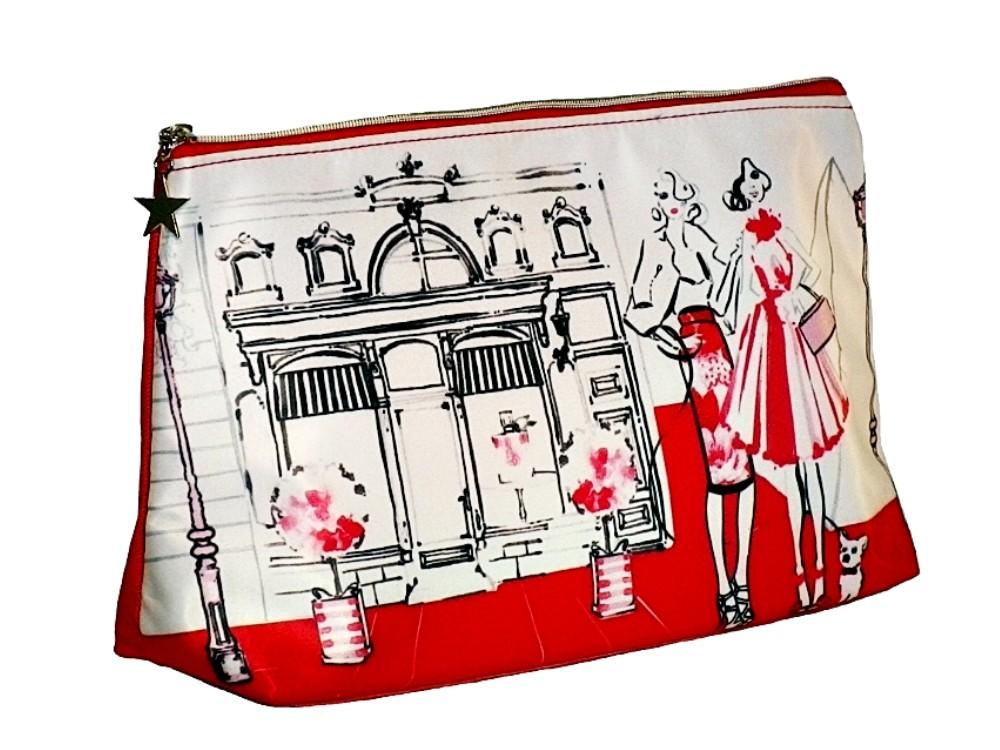 Kulturtasche Motiv: Ladys rot-weiß