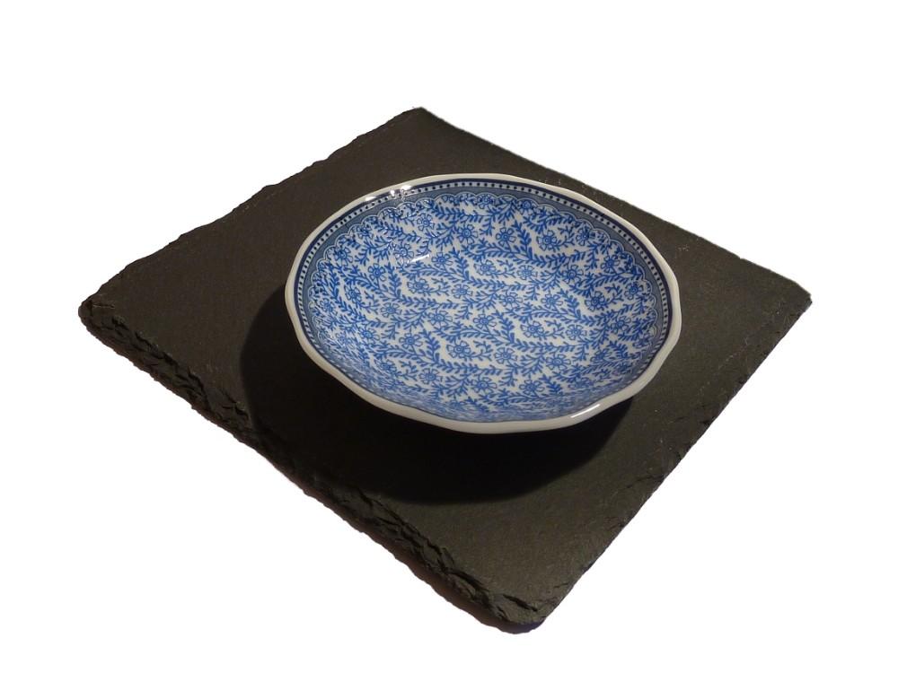 Porzellan Seifenschale blau-weiß Blümchen Ranke rund