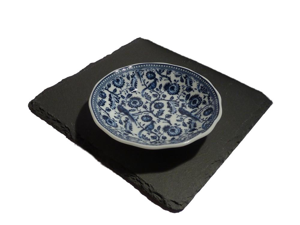 Porzellan Seifenschale blau-weiß Motiv Fasane rund
