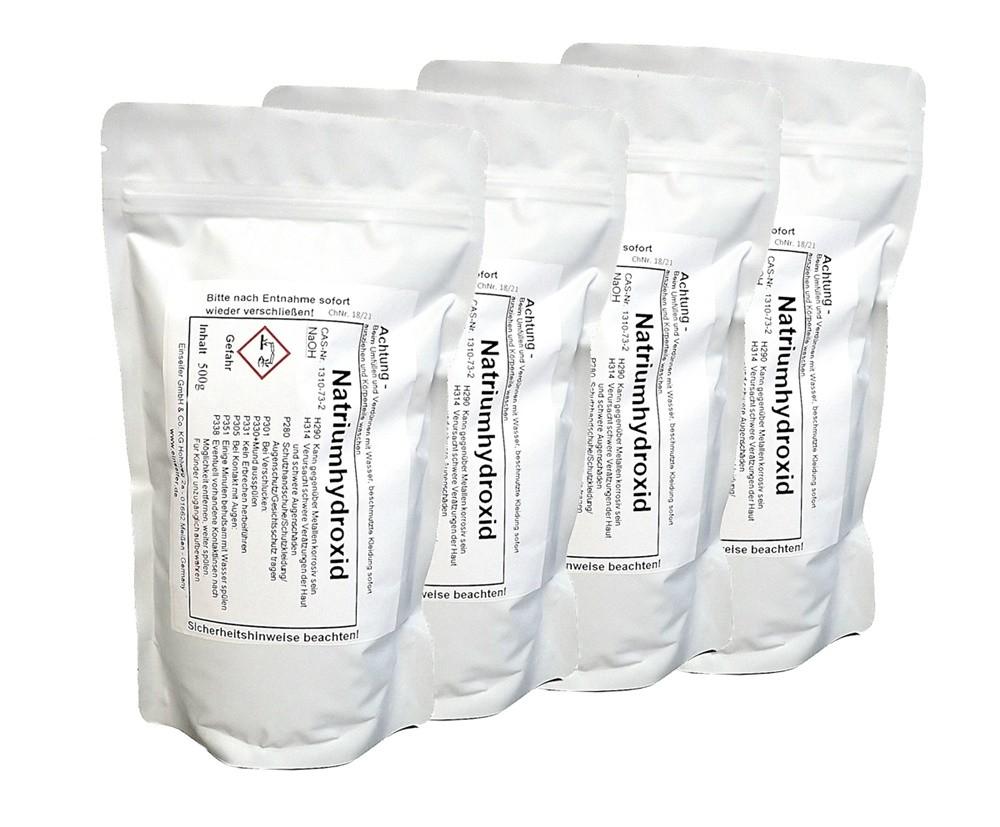 Natriumhydroxid Ätznatron 4x 500g  Seifenherstellung  Reiniger  Abbeitzer NaOH