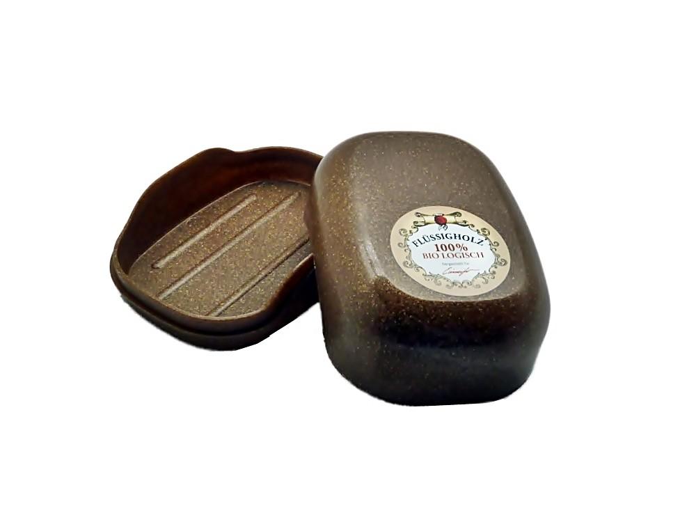 große Seifendose aus Flüssigholz braun
