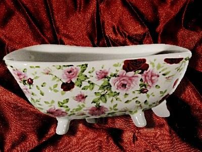 Seifenschale Badewanne Rose Keramik