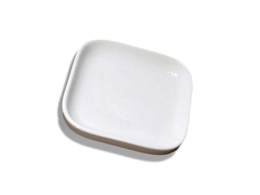 Seifenschale Porzellan weiß eckig