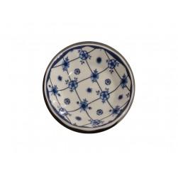 Porzellan Seifenschale blau-weiß Blumen rund