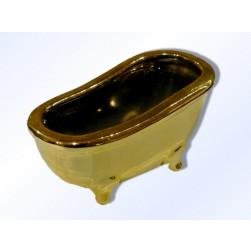 Seifenschale Badewanne Keramik gold