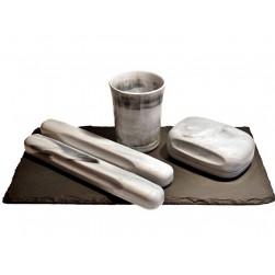 NEU stylisches Reiseset 4tlg. grau-weiß marmoriert