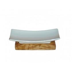 Seifenschale Porzellan auf Olivenholz