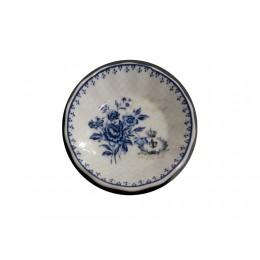 Porzellan Seifenschale blau-weiß Vintage Krone rund