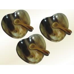 3x kleine Horn Schale & Löffel Herzform
