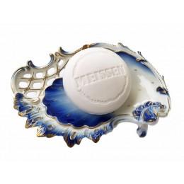 Meissner Porzellanseife blau/weiß mit Mandelöl